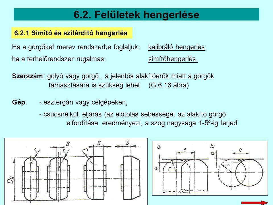 Ha a görgőket merev rendszerbe foglaljuk: kalibráló hengerlés; ha a terhelőrendszer rugalmas:simítóhengerlés. Szerszám: golyó vagy görgő, a jelentős a