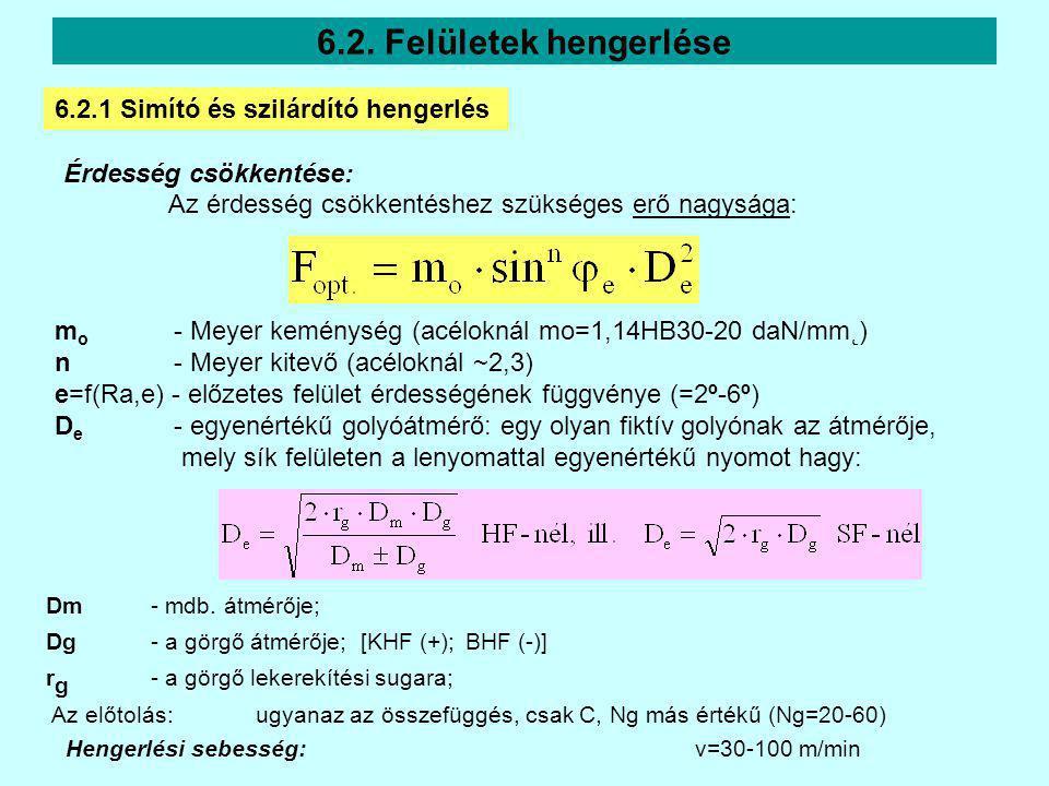Érdesség csökkentése: Az érdesség csökkentéshez szükséges erő nagysága: 6.2. Felületek hengerlése m o - Meyer keménység (acéloknál mo=1,14HB30-20 daN/
