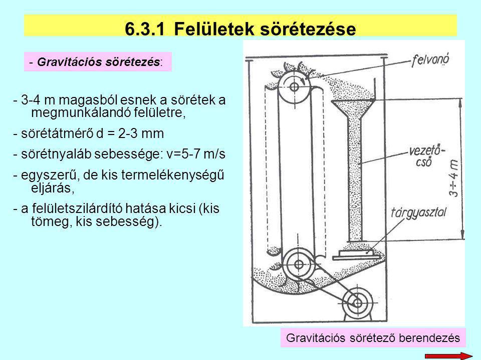 - 3-4 m magasból esnek a sörétek a megmunkálandó felületre, - sörétátmérő d = 2-3 mm - sörétnyaláb sebessége: v=5-7 m/s - egyszerű, de kis termelékeny