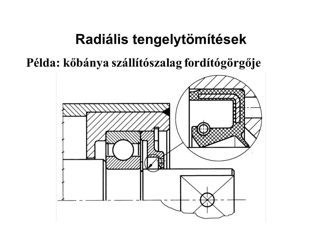 Radiális tengelytömítések Példa: kőbánya szállítószalag fordítógörgője