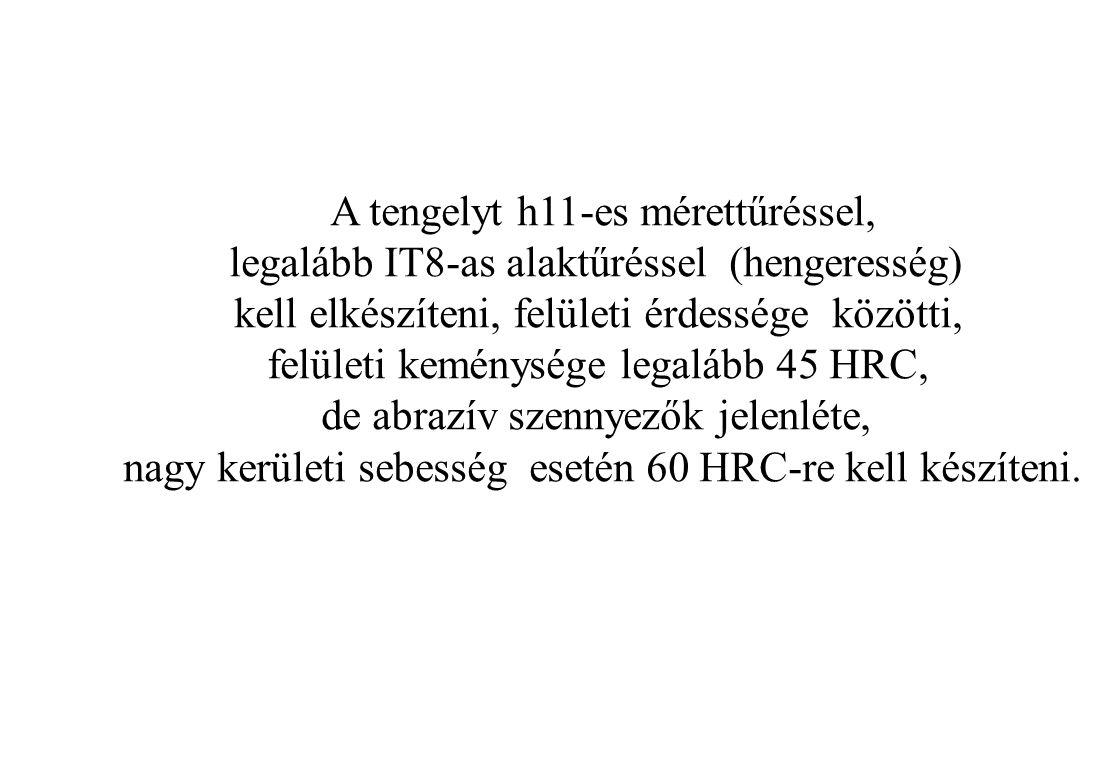 A tengelyt h11-es mérettűréssel, legalább IT8-as alaktűréssel (hengeresség) kell elkészíteni, felületi érdessége közötti, felületi keménysége legalább