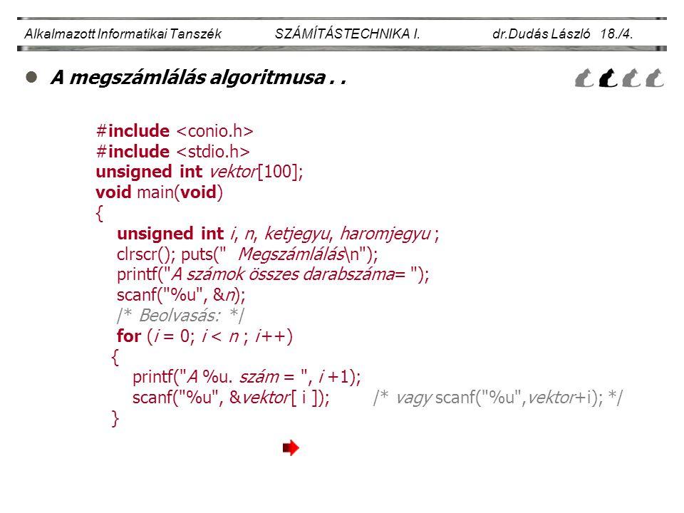 lA megszámlálás algoritmusa.. Alkalmazott Informatikai Tanszék SZÁMÍTÁSTECHNIKA I. dr.Dudás László 18./4. #include unsigned int vektor [100]; void mai