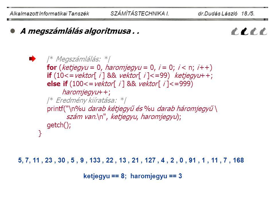 lA megszámlálás algoritmusa.. Alkalmazott Informatikai Tanszék SZÁMÍTÁSTECHNIKA I. dr.Dudás László 18./5. /* Megszámlálás: */ for (ketjegyu = 0, harom