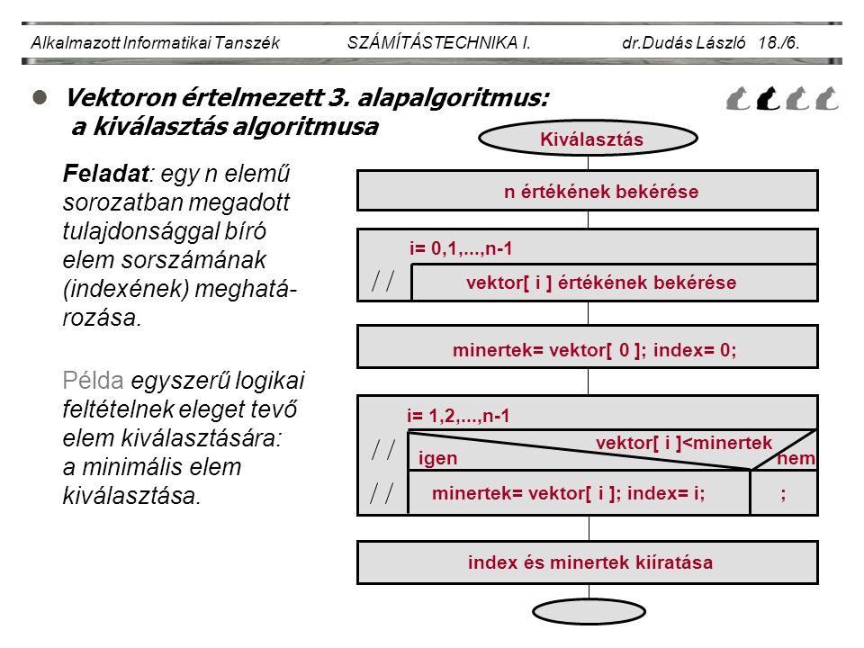 lVektoron értelmezett 3. alapalgoritmus: a kiválasztás algoritmusa Alkalmazott Informatikai Tanszék SZÁMÍTÁSTECHNIKA I. dr.Dudás László 18./6. Feladat
