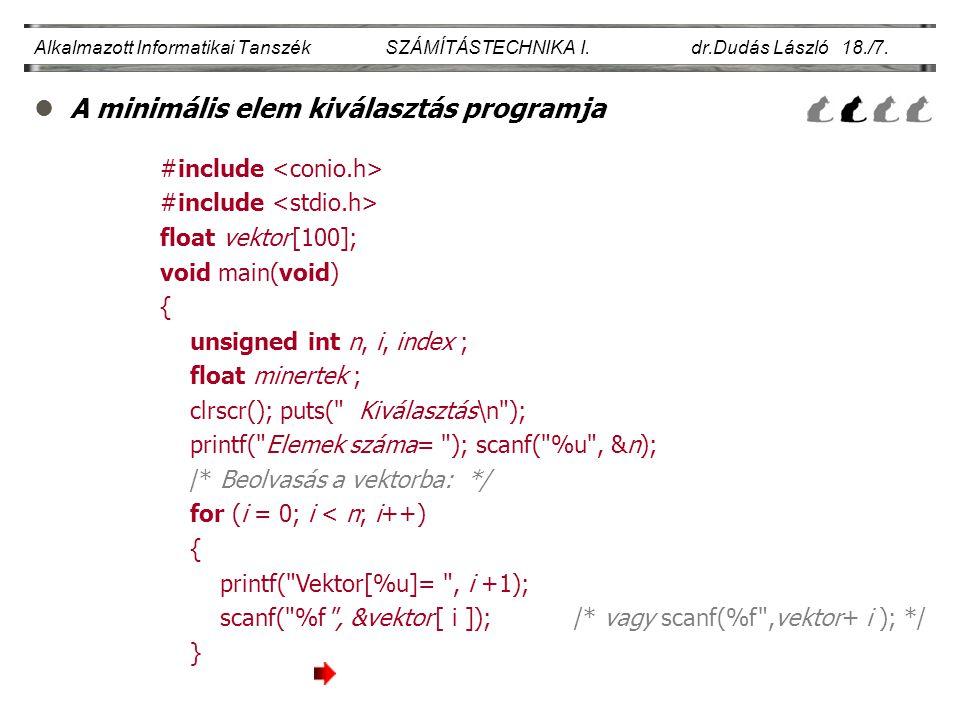 lA minimális elem kiválasztás programja Alkalmazott Informatikai Tanszék SZÁMÍTÁSTECHNIKA I. dr.Dudás László 18./7. #include float vektor [100]; void