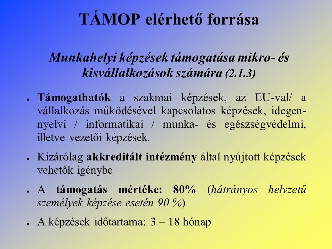TÁMOP elérhető forrása Munkahelyi képzések támogatása mikro- és kisvállalkozások számára (2.1.3) ● Támogathatók a szakmai képzések, az EU-val/ a vállalkozás működésével kapcsolatos képzések, idegen- nyelvi / informatikai / munka- és egészségvédelmi, illetve vezetői képzések.