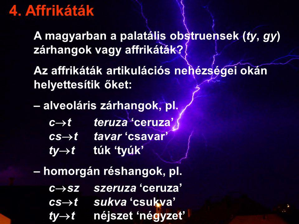 4.Affrikáták A magyarban a palatális obstruensek (ty, gy) zárhangok vagy affrikáták.