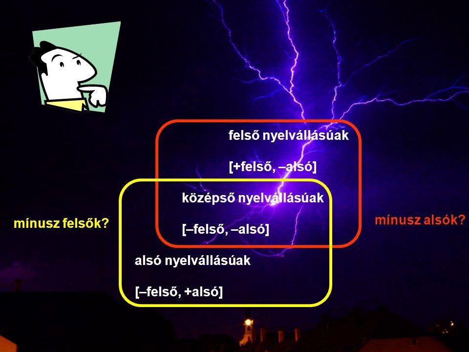 felső nyelvállásúak [+felső, –alsó] középső nyelvállásúak [–felső, –alsó] alsó nyelvállásúak [–felső, +alsó] mínusz felsők? mínusz alsók?