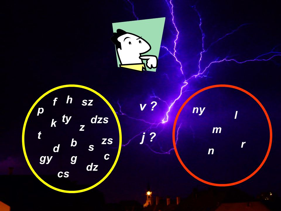 DE: zöngétlen párjuk is megjelenik a helyettesítésben, pl.: fár 'vár' Jör[ç] 'György' zöngésíthetik az előttük álló obstruenst, pl.: hadvan 'hatvan' abjuk 'apjuk' Következésképp: A v és a j is kettős természetűek.