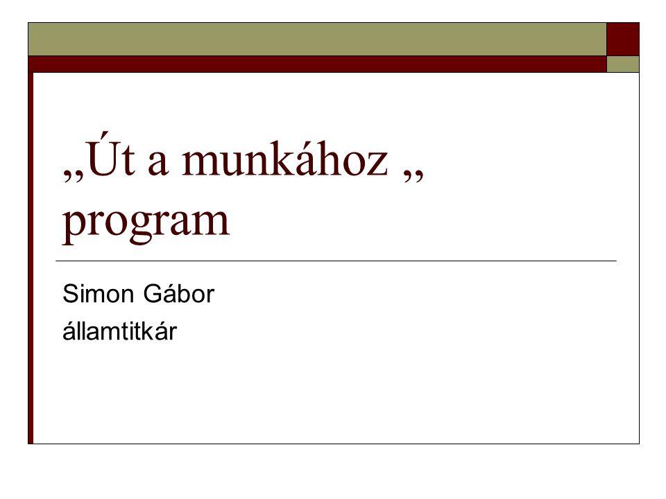 """""""Út a munkához """" program Simon Gábor államtitkár"""