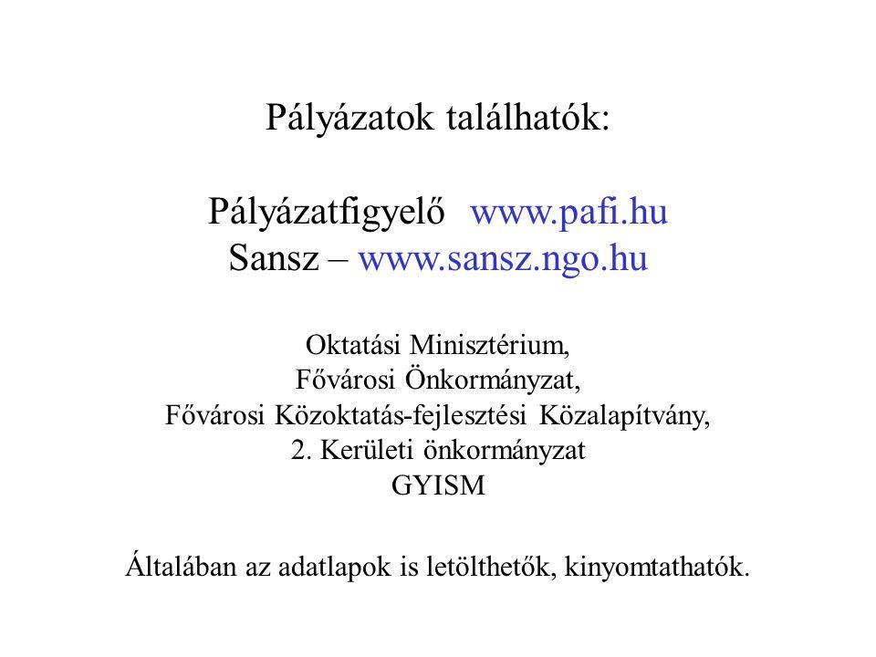 Pályázatok találhatók: Pályázatfigyelő www.pafi.hu Sansz – www.sansz.ngo.hu Oktatási Minisztérium, Fővárosi Önkormányzat, Fővárosi Közoktatás-fejlesztési Közalapítvány, 2.