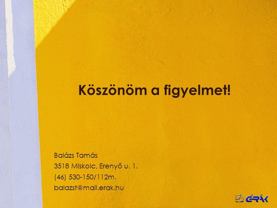 Köszönöm a figyelmet! Balázs Tamás 3518 Miskolc, Erenyő u. 1. (46) 530-150/112m. balazst@mail.erak.hu