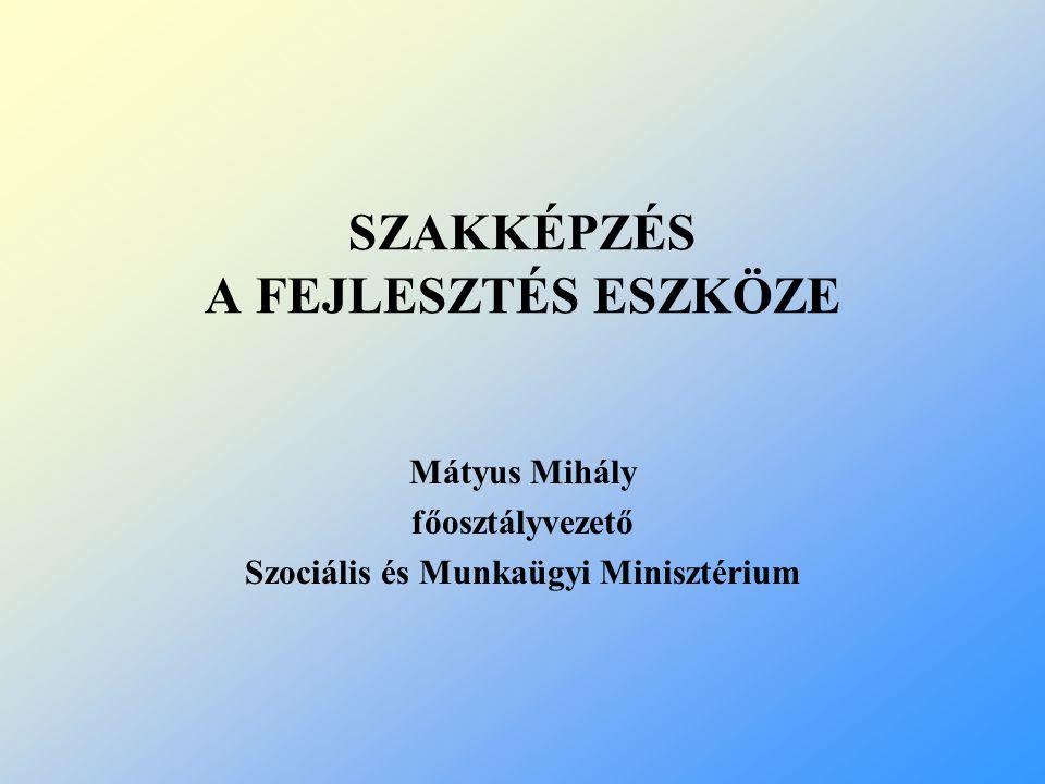 SZAKKÉPZÉS A FEJLESZTÉS ESZKÖZE Mátyus Mihály főosztályvezető Szociális és Munkaügyi Minisztérium