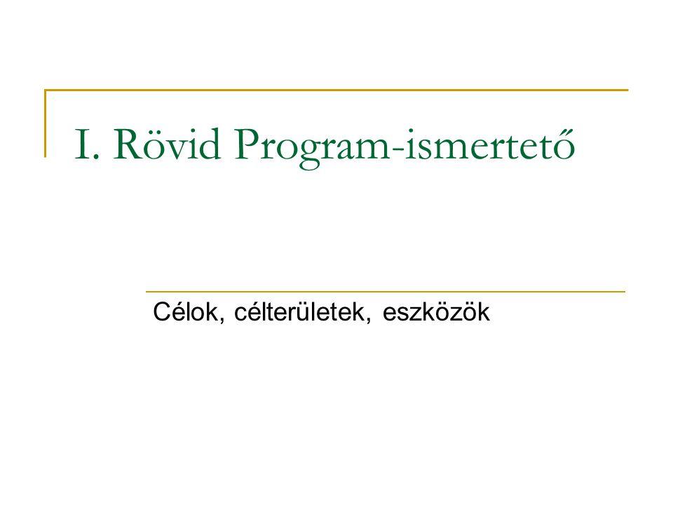 I. Rövid Program-ismertető Célok, célterületek, eszközök
