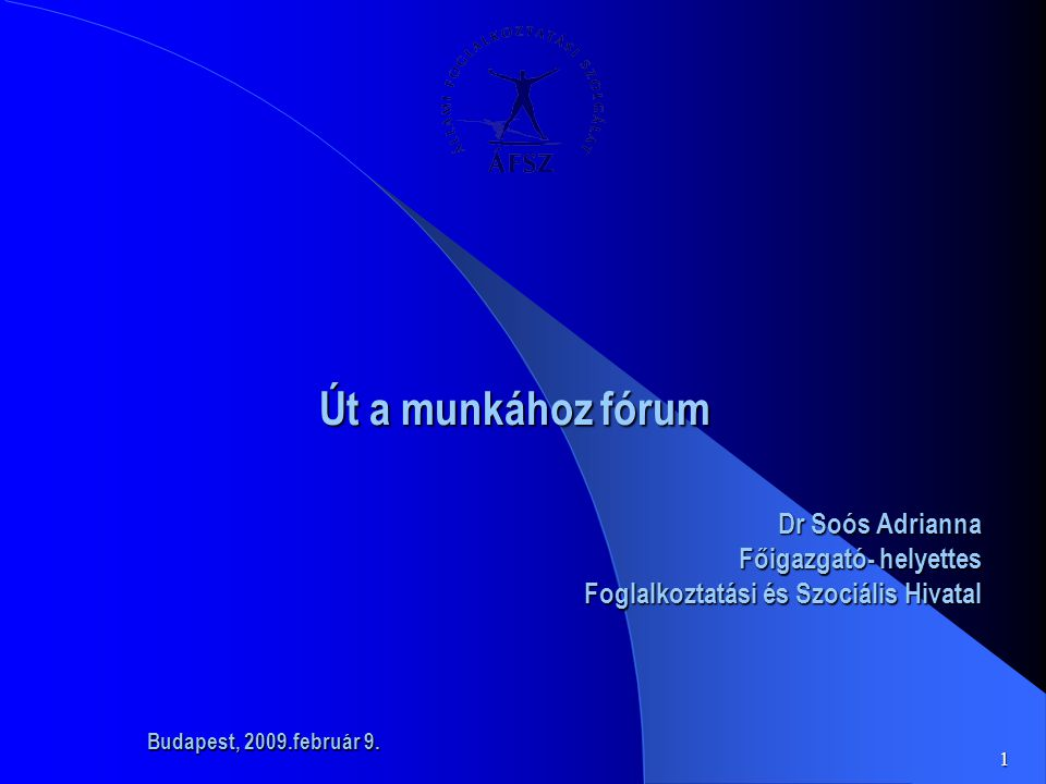1 Út a munkához fórum Út a munkához fórum Dr Soós Adrianna Főigazgató- helyettes Foglalkoztatási és Szociális Hivatal Budapest, 2009.február 9.