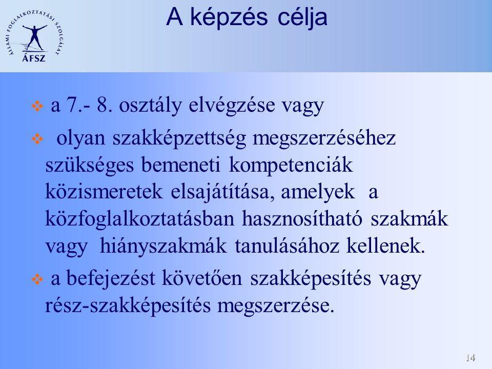 14 A képzés célja  a 7.- 8.