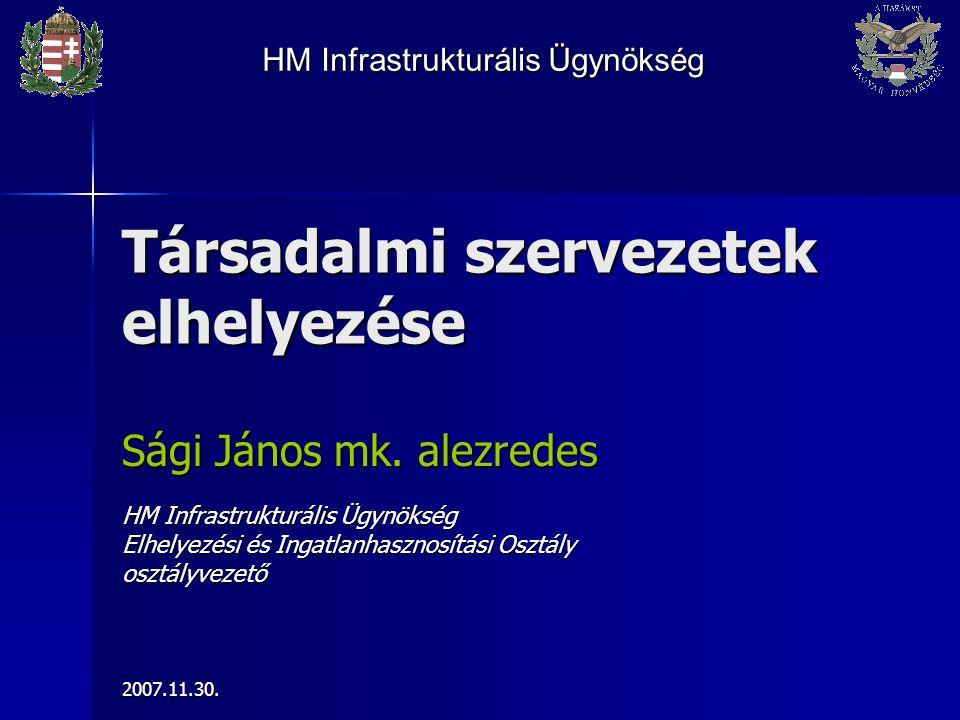 Társadalmi szervezetek elhelyezése Sági János mk. alezredes HM Infrastrukturális Ügynökség Elhelyezési és Ingatlanhasznosítási Osztály osztályvezető20