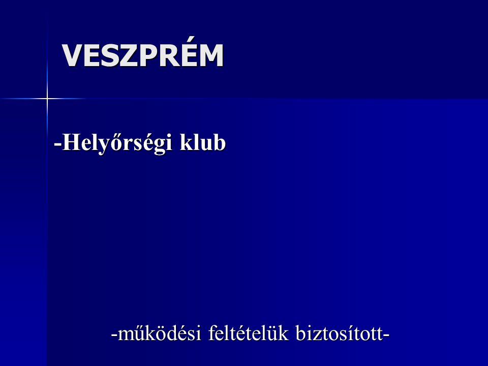 VESZPRÉM -Helyőrségi klub -működési feltételük biztosított-