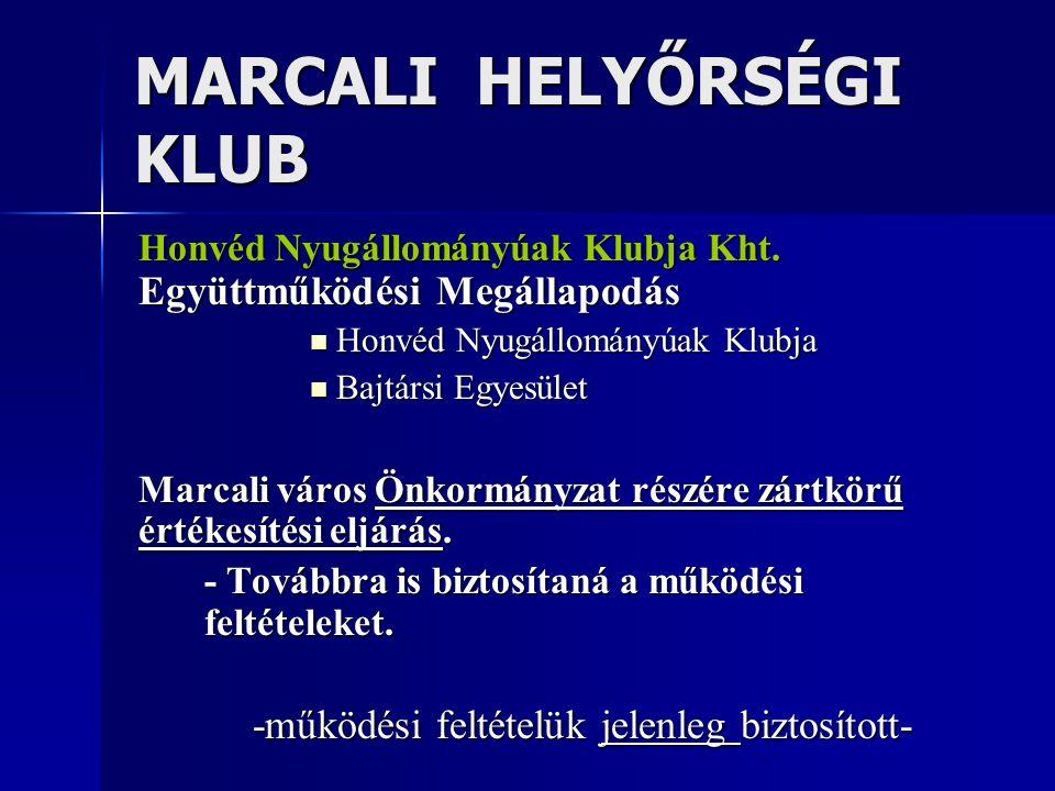 MARCALI HELYŐRSÉGI KLUB Honvéd Nyugállományúak Klubja Kht. Együttműködési Megállapodás Honvéd Nyugállományúak Klubja Honvéd Nyugállományúak Klubja Baj
