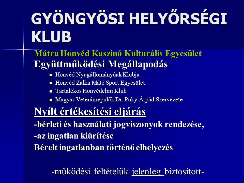 GYÖNGYÖSI HELYŐRSÉGI KLUB Mátra Honvéd Kaszinó Kulturális Egyesület Együttműködési Megállapodás Honvéd Nyugállományúak Klubja Honvéd Nyugállományúak K