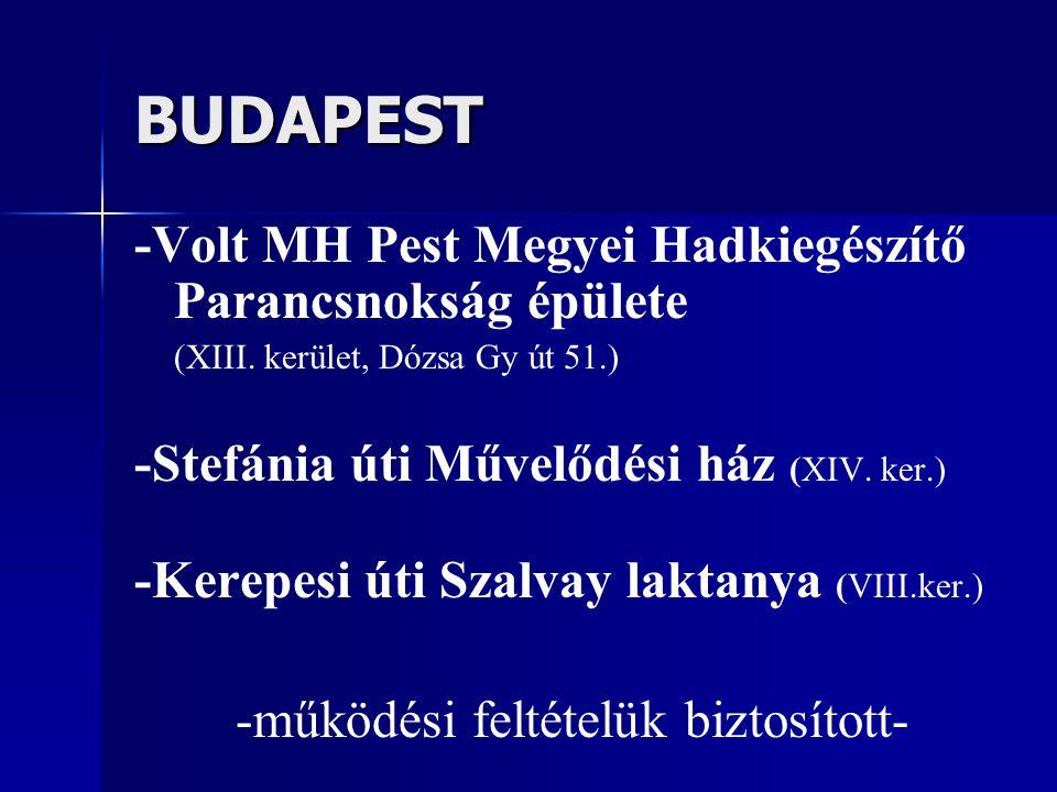 BUDAPEST -Volt MH Pest Megyei Hadkiegészítő Parancsnokság épülete (XIII. kerület, Dózsa Gy út 51.) -Stefánia úti Művelődési ház (XIV. ker.) -Kerepesi