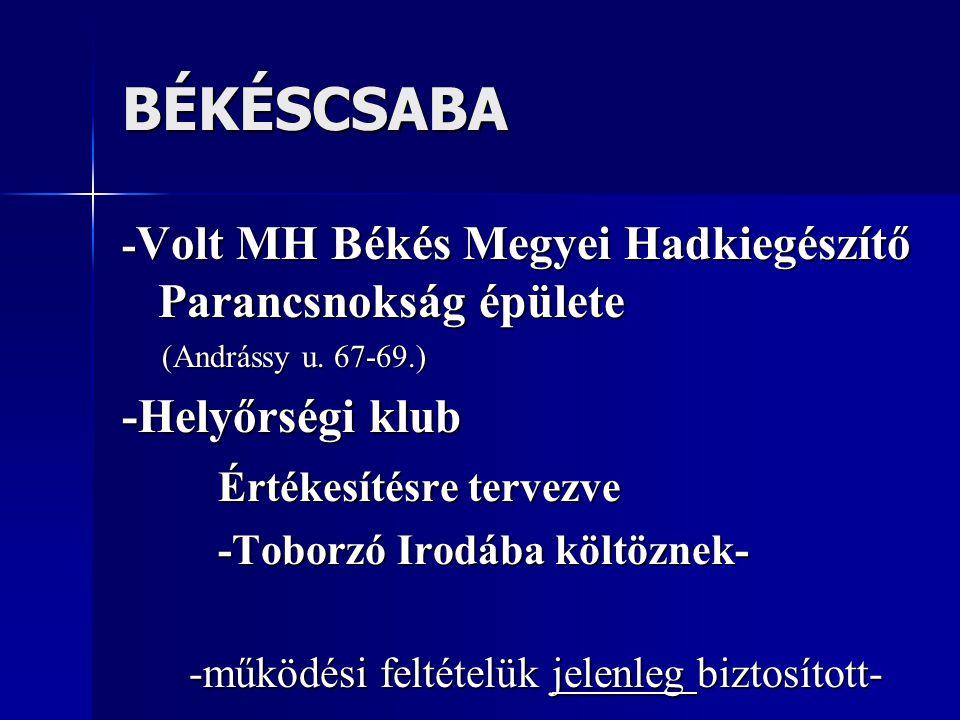 NYÍREGYHÁZA -Volt MH Szabolcs-Szatmár-Bereg Megyei Hadkiegészítő Parancsnokság épülete (Bessenyei tér 15.) -Helyőrségi klub -működési feltételük biztosított-