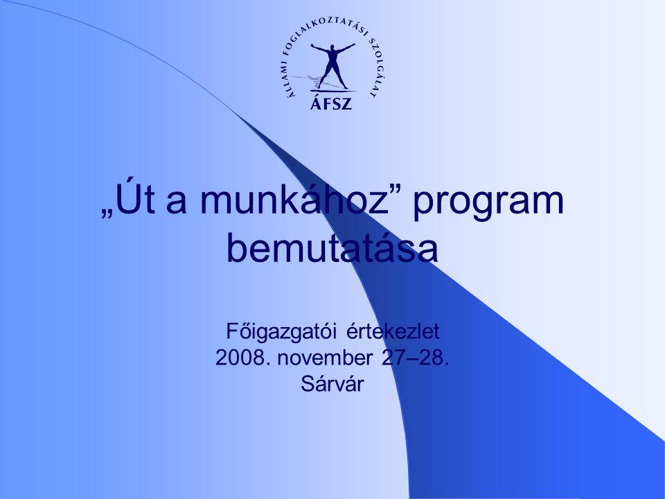 """Főigazgatói értekezlet 2008. november 27–28. Sárvár """"Út a munkához program bemutatása"""