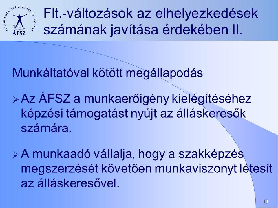 13 Munkáltatóval kötött megállapodás  Az ÁFSZ a munkaerőigény kielégítéséhez képzési támogatást nyújt az álláskeresők számára.