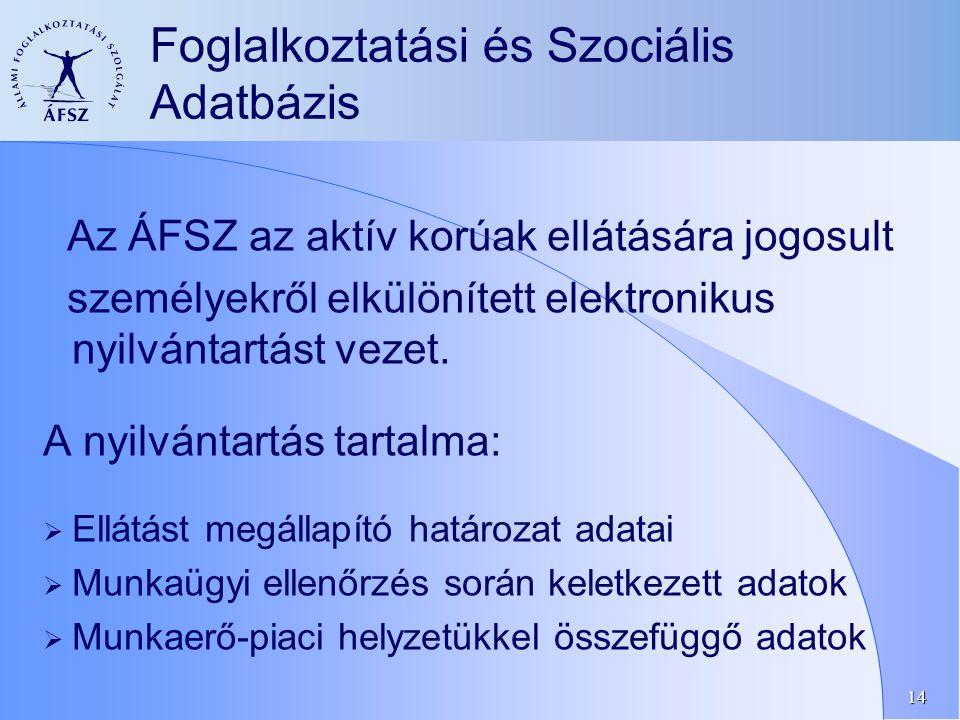14 Foglalkoztatási és Szociális Adatbázis Az ÁFSZ az aktív korúak ellátására jogosult személyekről elkülönített elektronikus nyilvántartást vezet.