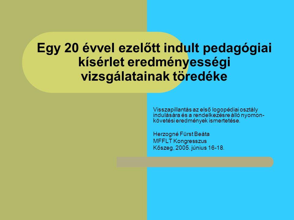 Logopédiai kezelés a logopédiai első osztály után A továbbiakban kezelésben: nem részesült 13 fő fél évig 1 fő 2 évig2 fő 3 évig2 fő 4 évig2 fő 6 évig1 fő (dadogó leány, Vácott és Kőszegen, beszédjavító általános iskolában) részesült.