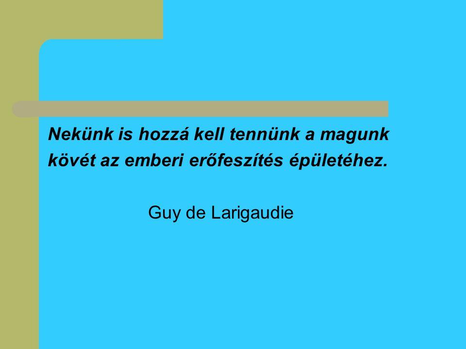 Nekünk is hozzá kell tennünk a magunk kövét az emberi erőfeszítés épületéhez. Guy de Larigaudie