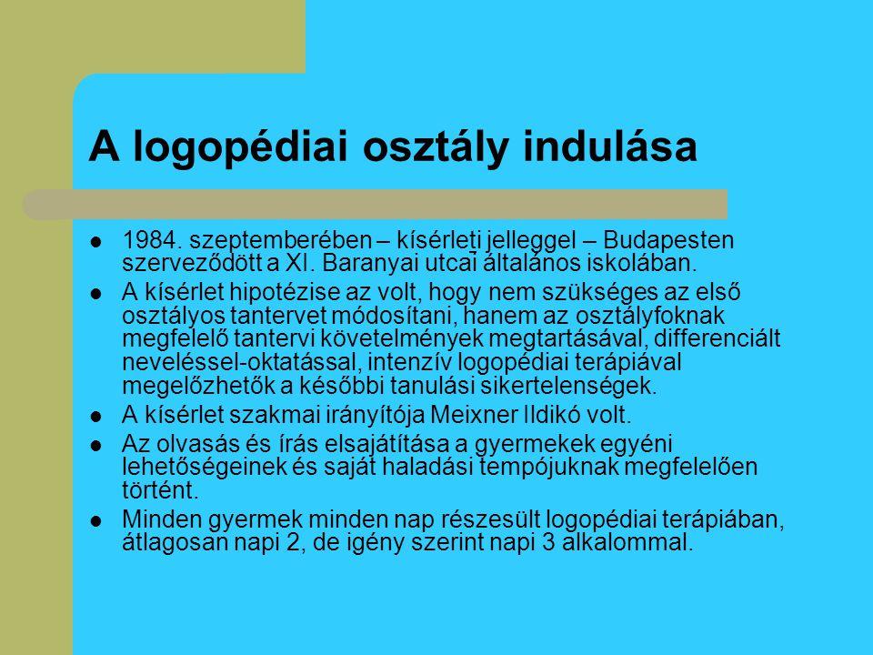 A logopédiai osztály indulása 1984. szeptemberében – kísérleti jelleggel – Budapesten szerveződött a XI. Baranyai utcai általános iskolában. A kísérle
