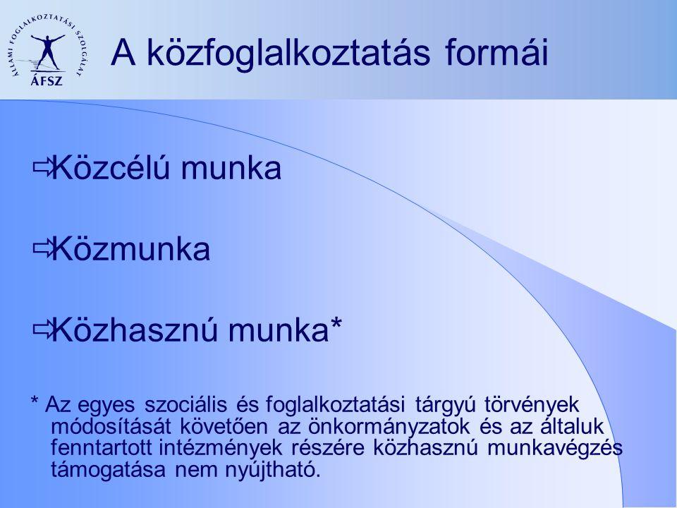 A közfoglalkoztatás formái  Közcélú munka  Közmunka  Közhasznú munka* * Az egyes szociális és foglalkoztatási tárgyú törvények módosítását követően az önkormányzatok és az általuk fenntartott intézmények részére közhasznú munkavégzés támogatása nem nyújtható.