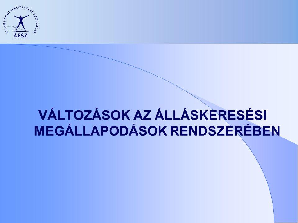 AZ ÁLLÁSKERESÉSI MEGÁLLAPODÁS JELENLEGI ELEMEI  Együttműködési kötelezettség vállalása  Önálló munkakeresésre vonatkozó adatok  Képzés elfogadására tett nyilatkozat  Szolgáltatások igénybevételére vonatkozó információk  A munkakeresést segítő további információk (pl.: költségtérítés)