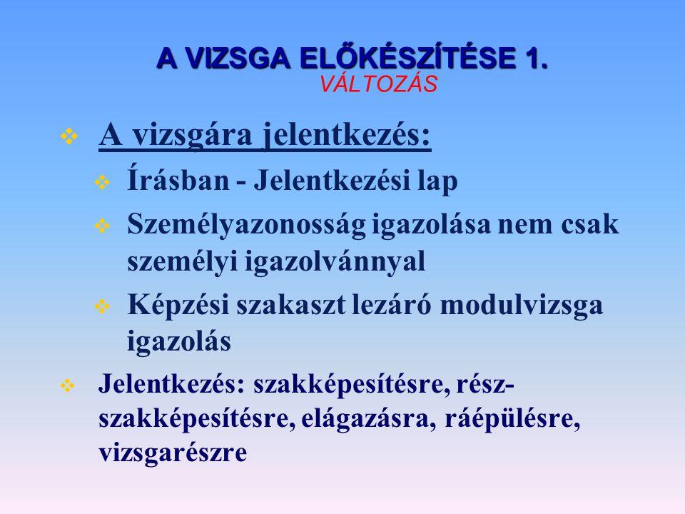 A VIZSGA ELŐKÉSZÍTÉSE 2.A VIZSGA ELŐKÉSZÍTÉSE 2.