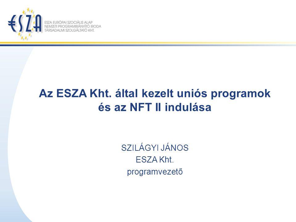Az ESZA Kht. által kezelt uniós programok és az NFT II indulása SZILÁGYI JÁNOS ESZA Kht. programvezető