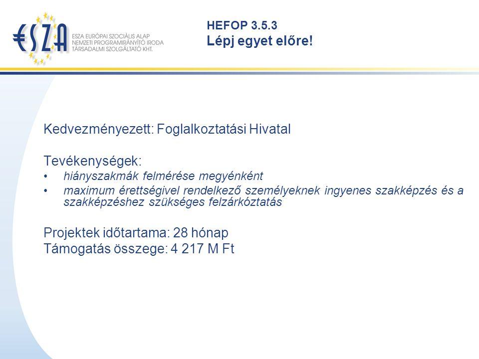 HEFOP 3.5.3 Lépj egyet előre! Kedvezményezett: Foglalkoztatási Hivatal Tevékenységek: hiányszakmák felmérése megyénként maximum érettségivel rendelkez