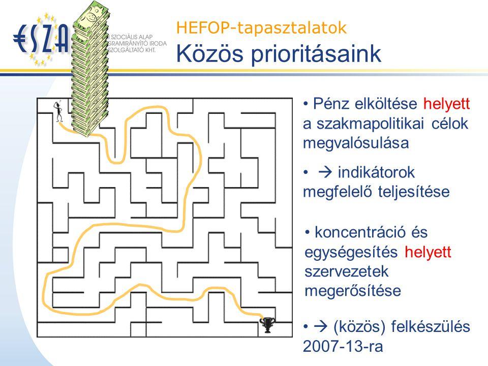 Pénz elköltése helyett a szakmapolitikai célok megvalósulása  indikátorok megfelelő teljesítése HEFOP-tapasztalatok Közös prioritásaink koncentráció