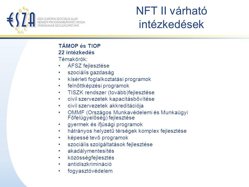 NFT II várható intézkedések TÁMOP és TIOP 22 intézkedés Témakörök: ÁFSZ fejlesztése szociális gazdaság kísérleti foglalkoztatási programok felnőttképz