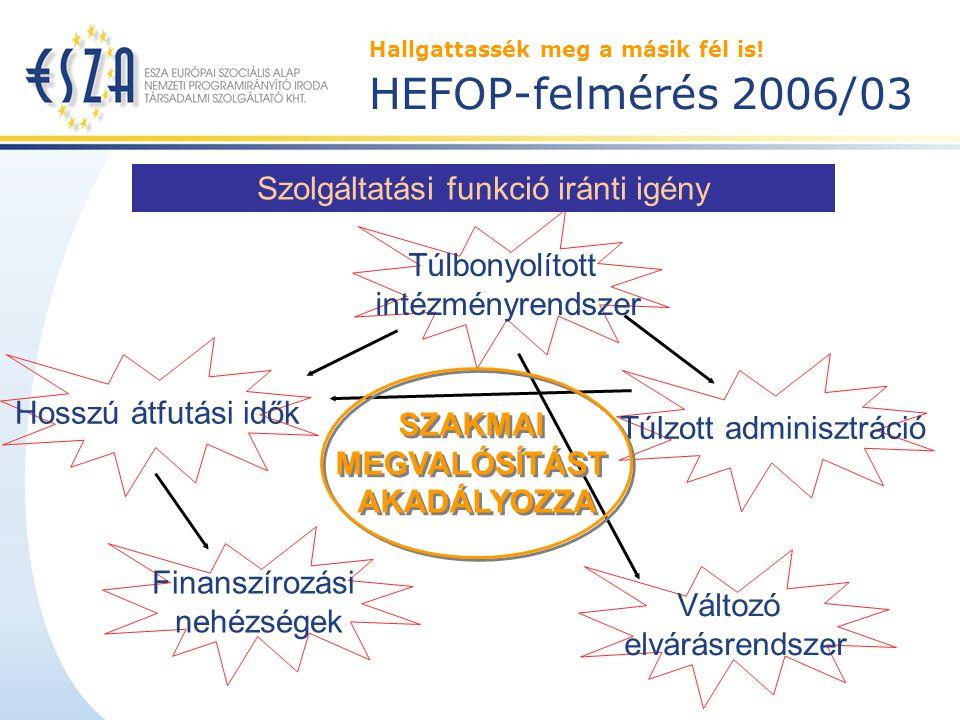 Hallgattassék meg a másik fél is! HEFOP-felmérés 2006/03 Problématerületek a projektvezetők szerint Hosszú átfutási idők Finanszírozási nehézségek Túl