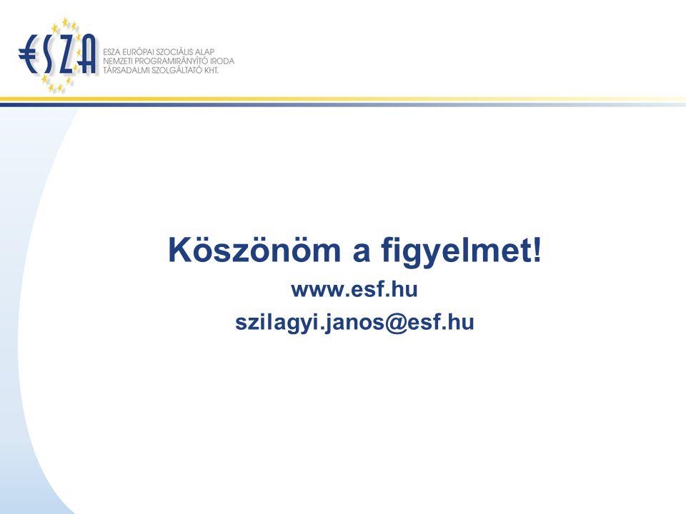 Köszönöm a figyelmet! www.esf.hu szilagyi.janos@esf.hu
