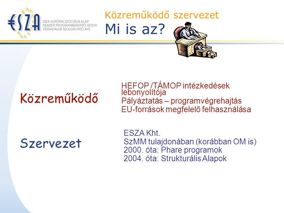 Közreműködő szervezet Mi is az? Szervezet Közreműködő ESZA Kht. SzMM tulajdonában (korábban OM is) 2000. óta: Phare programok 2004. óta: Strukturális