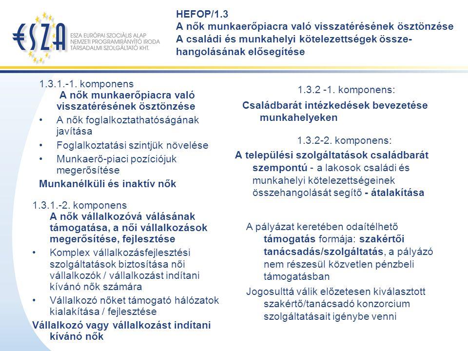 HEFOP/1.3 A nők munkaerőpiacra való visszatérésének ösztönzése A családi és munkahelyi kötelezettségek össze- hangolásának elősegítése 1.3.1.-1. kompo