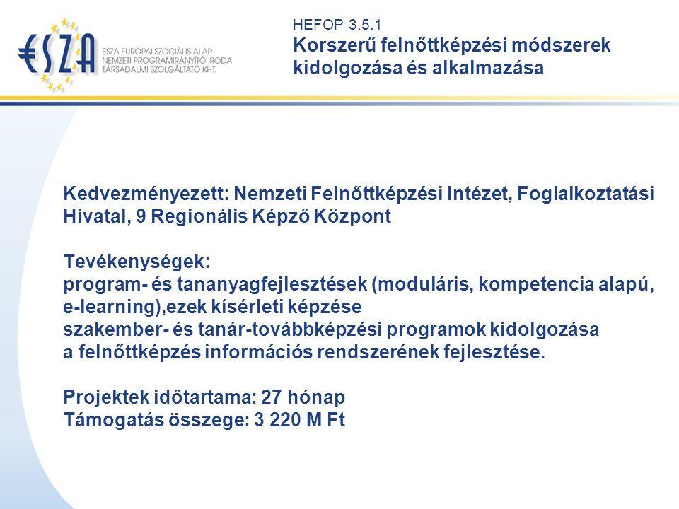 HEFOP 3.5.2 Intézményhálózat kialakítása a hátrányos helyzetű felnőttek digitális oktatásának és szakmai képzésének támogatására és foglalkoztatásuk elősegítésére Kedvezményezett: Apertus Közalapítvány Tevékenységek: érettségit is biztosító szakképzési, közoktatási intézmények hálózatának kialakítása a középfokú oktatásból korábban kiszorult hátrányos helyzetű felnőttek részére digitális tananyagfejlesztés részt vevő tanárok továbbképzése és a részt vevő intézmények felkészítése Megvalósítás helyszíne: Észak-magyarországi régió Projektek időtartama: 20 hónap Támogatás összege: 442 M Ft