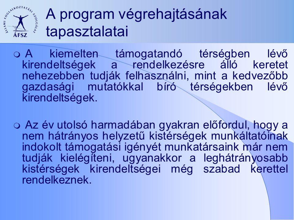 A program végrehajtásának tapasztalatai  A kiemelten támogatandó térségben lévő kirendeltségek a rendelkezésre álló keretet nehezebben tudják felhasználni, mint a kedvezőbb gazdasági mutatókkal bíró térségekben lévő kirendeltségek.