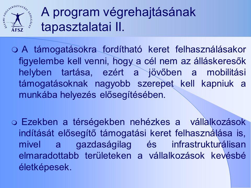 A program végrehajtásának tapasztalatai II.  A támogatásokra fordítható keret felhasználásakor figyelembe kell venni, hogy a cél nem az álláskeresők