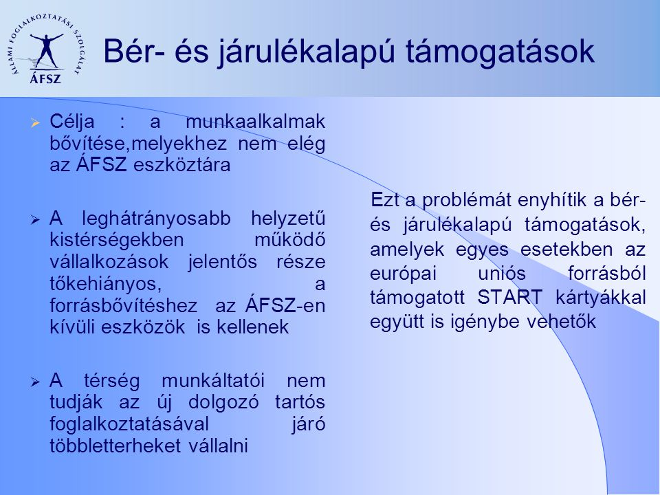Bér- és járulékalapú támogatások  Célja : a munkaalkalmak bővítése,melyekhez nem elég az ÁFSZ eszköztára  A leghátrányosabb helyzetű kistérségekben