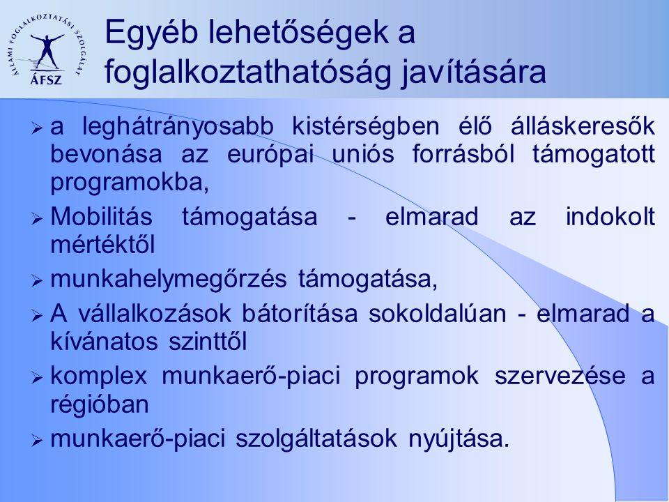 Egyéb lehetőségek a foglalkoztathatóság javítására  a leghátrányosabb kistérségben élő álláskeresők bevonása az európai uniós forrásból támogatott pr