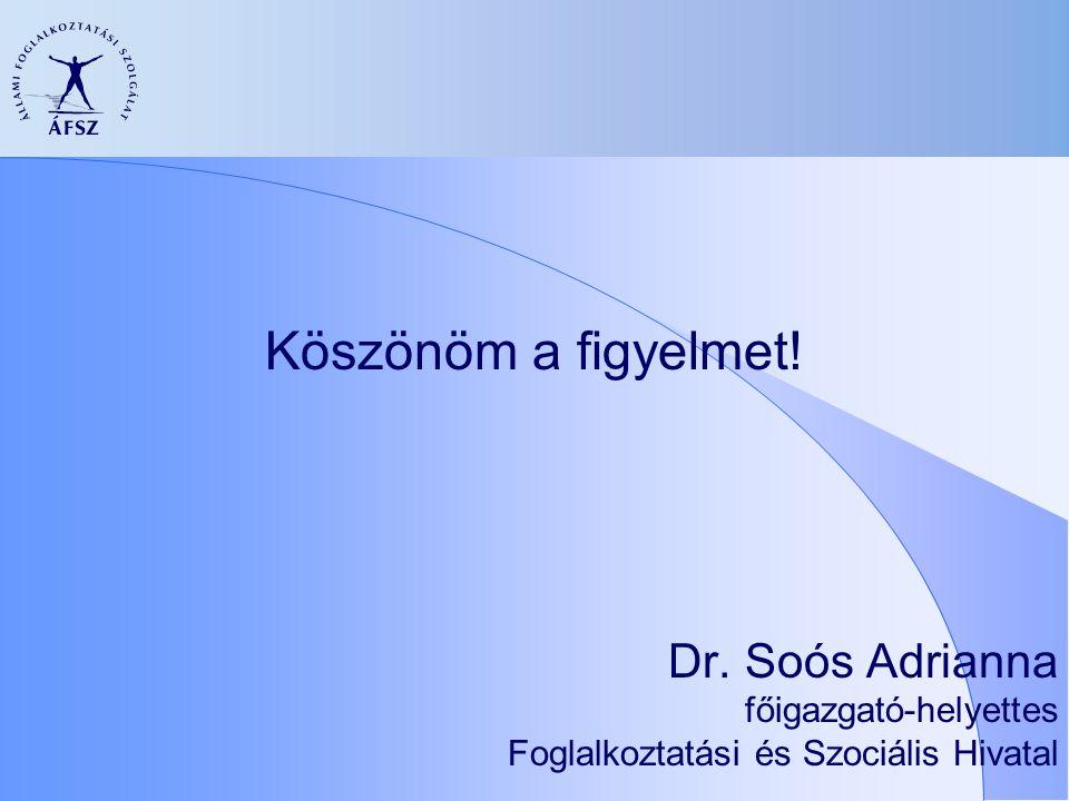 Köszönöm a figyelmet! Dr. Soós Adrianna főigazgató-helyettes Foglalkoztatási és Szociális Hivatal