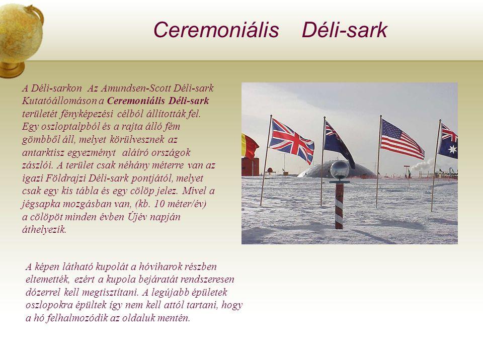 Ceremoniális Déli-sark A Déli-sarkon Az Amundsen-Scott Déli-sark Kutatóállomáson a Ceremoniális Déli-sark területét fényképezési célból állították fel.